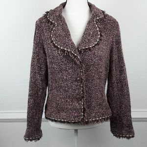 HAROLD'S WOOL BLEND TWEED FREYED HEM BLAZER SZ 12
